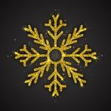 Vector Gouden Fonkelende Sneeuwvlok Stock Foto's
