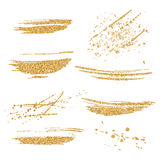 Vector gouden geplaatste verfvlekken Het goud schittert element op witte achtergrond Gouden glanzende verfslag Het abstracte goud Stock Afbeeldingen