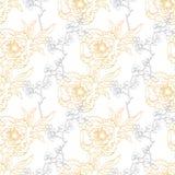 Vector Gouden Gray Drawing Peony Floral Diagonal Royalty-vrije Stock Afbeeldingen