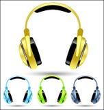 Vector Gouden Hoofdtelefoons Royalty-vrije Stock Afbeeldingen
