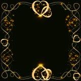 Vector gouden kader met lichteffecten Glanzende rechthoekbanner Op zwarte achtergrond Vector illustratie, eps 10 stock illustratie