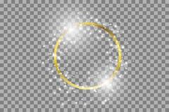 Vector gouden kader met lichteffecten Glanzende rechthoekbanner vector illustratie