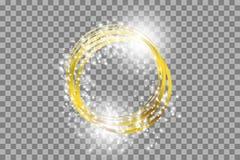 Vector gouden kader met lichteffecten Glanzende rechthoekbanner stock illustratie