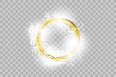 Vector gouden kader met lichteffecten Glanzende rechthoekbanner royalty-vrije illustratie