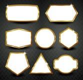 Vector gouden kaders op zwarte achtergrond Royalty-vrije Stock Afbeelding