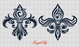 Vector Gouden koninklijke lelie Het afgelopen Heraldische symbool Elegant embleem in de vorm van een bloem Uitstekende tekening vector illustratie