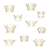 Vector gouden kronen Stock Afbeeldingen