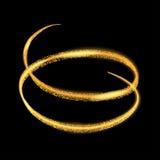 Vector gouden lichte sleepcirkel Geel de ringsspoor van de neon gloeiend brand Schitter het magische effect van de fonkelingswerv vector illustratie
