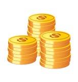 Vector gouden muntstukken Stock Afbeelding