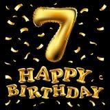 Vector Gouden nummer zeven metaalballon De gouden ballons van de partijdecoratie Verjaardagsteken voor gelukkige vakantie, vierin Stock Afbeeldingen