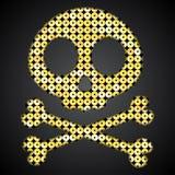 Vector gouden schedel De Vlag van de piraat Lovertjesvoorwerp Stock Afbeeldingen