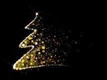 Vector gouden, schittert Kerstboom Stock Foto
