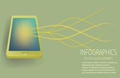 Vector gouden smartphone stock illustratie