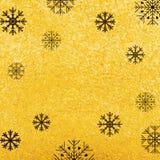 Vector gouden textuurachtergrond met sneeuwvlok Realistisch leeg ontwerp voor Kerstkaart Royalty-vrije Stock Afbeeldingen