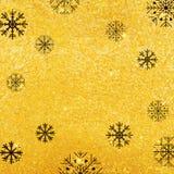 Vector gouden textuurachtergrond met sneeuwvlok Realistisch leeg ontwerp voor Kerstkaart Royalty-vrije Stock Afbeelding