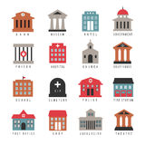 Vector government building colored icons. Municipal city architecture symbols isolated on white background. University and firehouse, cemetery and library royalty free illustration
