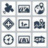 Vector GPS e iconos de la navegación fijados Fotografía de archivo libre de regalías