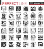 Vector Gps location navigation black mini concept icons and infographic symbols set. Vector Gps location navigation black mini concept icons and infographic Royalty Free Stock Photos
