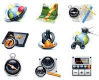 Vector GPS navigatiepictogrammen. Deel 1 Stock Afbeeldingen