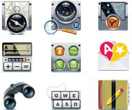 Vector GPS navigation icons. Part 2. Set of the detailed satellite navigation icons Royalty Free Stock Images