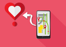 Vector Gps Technology Smartphone find heart for love. Vector Mobile Gps Navigation Technology on Smartphone  find love heart valentine Royalty Free Stock Photography