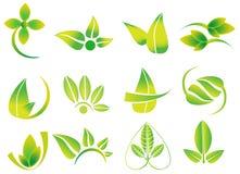 Vector grüne Blätter, flowesr, Ökologieikonenfirmenzeichen, Gesundheit, Umwelt, Natur bezogene Logos Lizenzfreie Stockfotografie