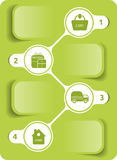 Vector grünes Diagramm, wie man im Internet kauft Stockfotos