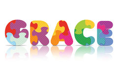 Vector GRACE written with alphabet puzzle Stock Photography