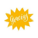 Vector Gracias calligraphy, spanish translation of Thank You phrase. Hand lettering in speech bubble Stock Image