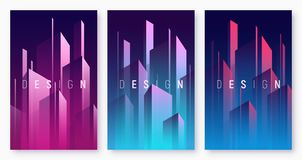 Vector gradient geometric abstract backgrounds, colorful minimal. Cover designs, futuristic posters with stylized urban cityscape. Global swatches stock illustration