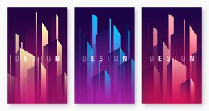 Vector gradient geometric abstract backgrounds, colorful minimal. Cover designs, futuristic posters with stylized urban cityscape. Global swatches royalty free illustration