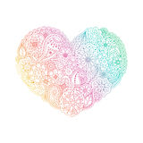 Vector gradient heart shape of floral doodle elements Royalty Free Stock Photos