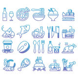 Vector gradient line Set of flat icons and elements about food and drink Royalty Free Stock Photography