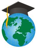 Vector Graduation. A globe and an academic dress symbolizing Graduation education world Royalty Free Stock Images