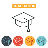 Vector graduation cap icons. Graduation cap line icon. Education icon for web and graphic design. Line style logo. Vector illustration Royalty Free Stock Images