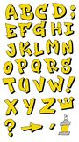 Vector graffiti fonts letters alphabet for design logos. Vector isolated yellow graffiti fonts letters alphabet for design logos royalty free illustration