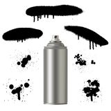 Vector graffiti spray paint can with splash. Vector graffiti spray paint can with spray splash. Vector graffiti illustration Royalty Free Stock Images