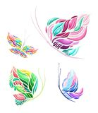 Vector colorful butterfly set with four elements royalty free stock photo