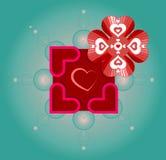 Vector Grafik für Valentinstag mit Gebrauch von heiligen Geometriesymbolen, Blume des Lebens und Herzen Stockfoto