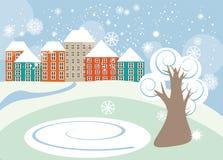 Weinig de winterstad Stock Illustratie
