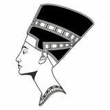 Vector grafisch Nefertiti die in profiel trekken Stock Afbeelding
