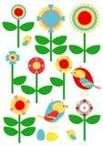 Bloemen en Vogels vector illustratie