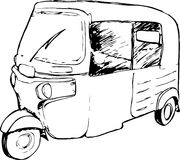 Vector grafisch van een traditionele die taxi in Indonesië als Bajaj wordt bekend stock afbeelding