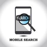 Vector grafisch van onderzoek in mobiel Stock Foto's