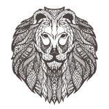 Vector grafische illustratie van het hoofd van een leeuw Royalty-vrije Stock Foto's