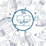 Vector grafische kleurrijke tekening van persoonlijkheidsgezicht, mannetje Royalty-vrije Stock Foto