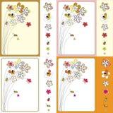 Vector grafische reeks met bloemen Stock Foto