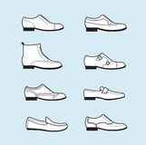 Vector grafische vastgestelde pictogrammen van de schoenen van vlakke klassieke mensen Royalty-vrije Stock Foto