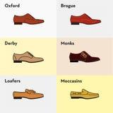 Vector grafische vastgestelde pictogrammen van de schoenen van vlakke klassieke mensen Stock Afbeeldingen