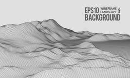 vector granangular EPS10 del terreno de 3D Wireframe Fotografía de archivo